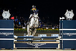 Justin Yeung of Hong Kong riding Clintorado competes in the JETS Challenge during the Longines Masters of Hong Kong at AsiaWorld-Expo on 10 February 2018, in Hong Kong, Hong Kong. Photo by Ian Walton / Power Sport Images