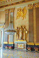 """The Room of Astrae"" was the waiting foam for Career gentlemen, Ambassadors, Secretaries of State and other privileged persons. The guilder Stucco shows Minerva flanked by Stability and Legislation which was moseyed by Valerio Villareale.  The Bourbon Kings of Naples Royal Palace of Caserta, Italy."