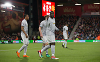 Romelu Lukaku of Man Utd celebrates his goal during the Premier League match between Bournemouth and Manchester United at the Goldsands Stadium, Bournemouth, England on 18 April 2018. Photo by Andy Rowland.