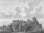 Engraving of Scottish landscapes and buildings from late eighteenth century, Dunotter castle, Scotland, UK , drawn by S Hooper