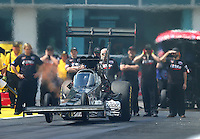 Mar 20, 2016; Gainesville, FL, USA; NHRA top fuel driver Tripp Tatum during the Gatornationals at Auto Plus Raceway at Gainesville. Mandatory Credit: Mark J. Rebilas-USA TODAY Sports