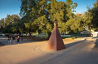 Tzolk'in by artist Beatriz Cortez, photographed Nov. 12, 2018 in the Academic Quad.<br /> Inspired by an ancient 260-day agricultural calendar, Tzolk'in uses a hypocycloid motion to mark time through simultaneous movement that is both linear and cyclical. Beatriz Cortez is a Los Angeles-based artist and scholar. Sponsored by Oxy Arts.<br /> (Photo by Marc Campos, Occidental College Photographer)