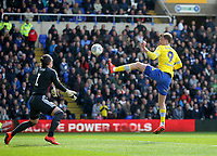 Leeds United's Patrick Bamford sees his shot hit the post<br /> <br /> Photographer Mick Walker/CameraSport<br /> <br /> The EFL Sky Bet Championship - Birmingham City v Leeds United - Saturday 6th April 2019 - St Andrew's - Birmingham<br /> <br /> World Copyright © 2019 CameraSport. All rights reserved. 43 Linden Ave. Countesthorpe. Leicester. England. LE8 5PG - Tel: +44 (0) 116 277 4147 - admin@camerasport.com - www.camerasport.com