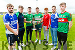 Darragh O'Shea (Shannon Rangers), Damien O'Leary (Kilcummin), Eddie Horan (St Kierans), Damien O'Sullivan (Killarney Legion), Brian Lenihan (East Kerry), Ross O'Callaghan (Kerins O'Rahillys) and Callum Tehan (Mid Kerry with the Bishop Moynihan Cup at the launch of the Garvey Senior Football Championship on Monday.
