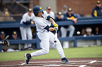 Michigan Wolverines outfielder Jordan Brewer (22) connects on a home run against the Rutgers Scarlet Knights on April 27, 2019 in the NCAA baseball game at Ray Fisher Stadium in Ann Arbor, Michigan. Michigan defeated Rutgers 10-1. (Andrew Woolley/Four Seam Images)