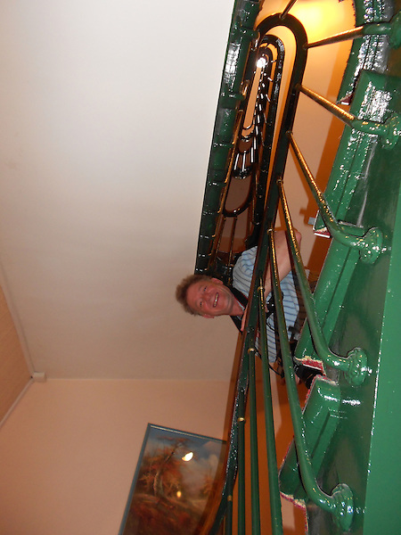 John on stairway at the Royal Phare Hotel, Paris, France.