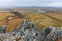 Rocky ridge along Puvakrat mountain, overlooking the Etivluk river, National Petroleum Reserve, Alaska.
