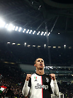 Calcio, Coppa Italia round 8 : Juventus - AS Roma, Turin, Allianz Stadium, January 22, 2020.<br /> Juventus' Cristiano Ronaldo (l) celebrates after scoring during the Italian Cup football match between Juventus and Roma at the Allianz stadium in Turin, January 22, 2020.<br /> UPDATE IMAGES PRESS/Isabella Bonotto