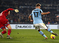 Football, Serie A: S.S. Lazio - Napoli, Olympic stadium, Rome, January 11, 2020.<br /> Lazio's Ciro Immobile (r) scores in spite of  Napoli's goalkeeper David Ospina (l) during the Italian Serie A football match between S.S. Lazio and Napoli at Rome's Olympic stadium, Rome , on January 11, 2020.<br /> UPDATE IMAGES PRESS/Isabella Bonotto