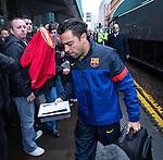 Xavi Hernandez arrives at Barcelona's city centre hotel