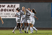 STANFORD, CA - November 14, 2014: The Stanford Cardinal vs CSU Fullerton Titans in the 1st round of the NCAA playoff women's soccer match in Stanford, California. Final score, Stanford 5, CSU Fullerton 2.