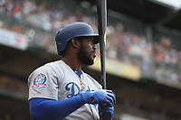 SAN FRANCISCO, CA - SEPTEMBER 29:  Yasiel Puig #66 of the Los Angeles Dodgers waits in the on deck circle during the game against the San Francisco Giants at AT&T Park on Saturday, September  29, 2018 in San Francisco, California. (Photo by Brad Mangin)