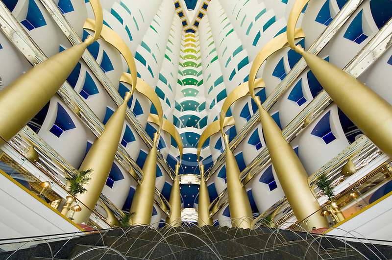 United Arab Emirates, Dubai, Burj Al Arab, interior of lobby atrium