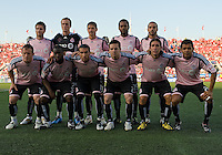 24 June2009:Toronto FC starting eleven wearing their pink shirts in support of the Canadian Breast Cancer Foundation during MLS action at BMO Field in Toronto, in a game between the New York Red Bulls and Toronto FC. Toronto FC won 2-0..