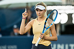 August 2, 2019: Amanda Anisimova (USA) in action where she was defeated by Saisai Zheng (CHN) 5-7, 7-5, 6-4 in the quarterfinals of the Mubadala Silicon Valley Classic at San Jose State in San Jose, California. ©Mal Taam/TennisClix/CSM