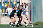 Santa Barbara, CA 02/13/10 - Laura Boland (Lindenwood # 20), Stephanie Shaffer (Cal Poly #20) and Amy Chesarek (Cal Poly #35)) in action during the Lindenwood-Cal Poly SLO game at the 2010 Santa Barbara Shoutout, Lindenwood defeated Cal Poly SLO 7-6.