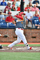 Johnson City Cardinals catcher Carlos Soto (47) swings at a pitch during a game against the Pulaski Yankees at TVA Credit Union Ballpark on July 7, 2018 in Johnson City, Tennessee. The Cardinals defeated the Yankees 7-3. (Tony Farlow/Four Seam Images)