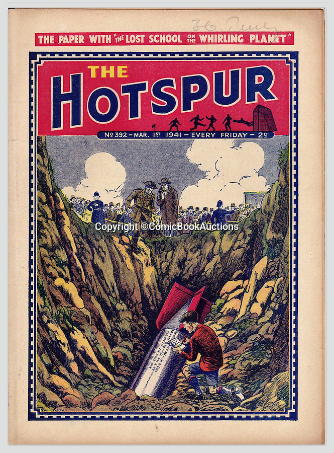 BNPS.co.uk (01202 558833)<br /> Pic: ComicBookAuctions/BNPS<br /> <br /> Even during the Blitz the Hotspur showed a plucky schoolboy disarming a German bomb that had landed on the school football pitch.<br /> <br /> Hearts and minds - Collection of wartime comics reveals the British response to the Nazi propaganda machine during WW2.<br /> <br /> The Nazi's may have had the Hitler youth but an amazing collection of wartime comics reveals how Britain fought for the hearts and minds of its children through the unlikely pages of the Beano and Hotspur.<br /> <br /> Although comic books were in their infancy at the outbreak of the war, the industry quickly got behind the war effort.<br /> <br /> A collection of popular boys' publications due to appear at auction have revealed the extent of the propaganda effectuated by British media.  <br /> <br /> Their bold front covers and story lines made every effort to ridicule Hitler and his henchmen and promote the plucky British underdog and the fast changing technology of War.<br /> <br /> The online sale of the wartime comics by London auctioneer Comic Book Auctions will end on September 4.