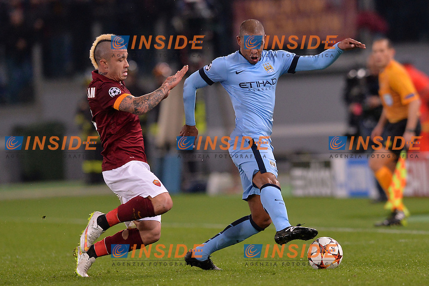 Radja Nainggolan Roma, Fernando Manchester.<br /> Roma 10-12-2014 Stadio Olimpico, Football Calcio Champions League Group Stage Group E AS Roma - Manchester City. Foto Antonietta Baldassarre / Insidefoto