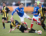 Dean Shiels brought down by Berwick's Lee Currie