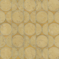 Rita, a stone water jet mosaic, shown in Jerusalem Gold and Persian Gold, is part of the Ann Sacks Beau Monde collection sold exclusively at www.annsacks.com