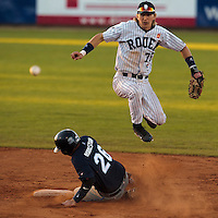 05 June 2010: Luc Piquet of Rouen throws the ball to first base for the double play during the 2010 Baseball European Cup match won 10-0 by Fortitudo Bologna over the Rouen Huskies, at the AVG Arena, in Brno, Czech Republic.