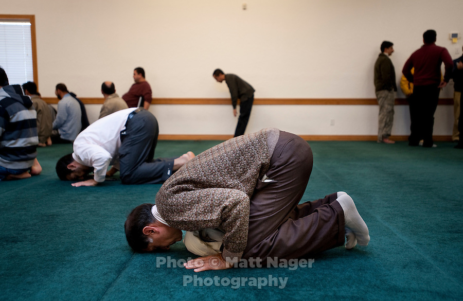 People pray at the Islamic Society of Greater Oklahoma City Mosque in Oklahoma City, Oklahoma, Friday, Nov., 12, 2010. The recent election became ugly in Oklahoma when opponents of Democratic candidate Cory Williams (cq), of Stillwater, ran a series of campaign ads portraying Williams as supporting Islamic extremists after he voted against a referendum to ban Sharia Law from Oklahoma courts...PHOTO/ MATT NAGER