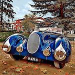 Vintage americana car in blue