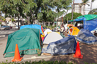 Tents and signs at the Occupy Honolulu Encampment Protest in Thomas Square, Honolulu, O'ahu