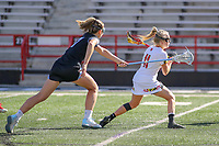 College Park, MD - April 27, 2019: Maryland Terrapins attack Caroline Steele (11) attempts a shot during the game between John Hopkins and Maryland at  Capital One Field at Maryland Stadium in College Park, MD.  (Photo by Elliott Brown/Media Images International)