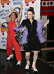"""Amy Toporek and  Christine Rea during the Special Musical Presentation for """"Hit Her WithThe Skates"""" at the Bowlmor Times Square on October 16, 2018 in New York City."""