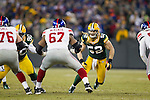 Green Bay Packers linebacker Clay Matthews (52) battles New York Giants offensive lineman Kareem McKenzie (67) during an NFL divisional playoff football game on January 15, 2012 in Green Bay, Wisconsin. The Giants won 37-20. (AP Photo/David Stluka)