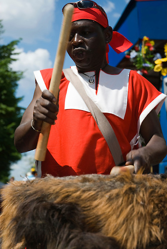 An African drummer at carnival the culture Berlin Kreuzberg Germany