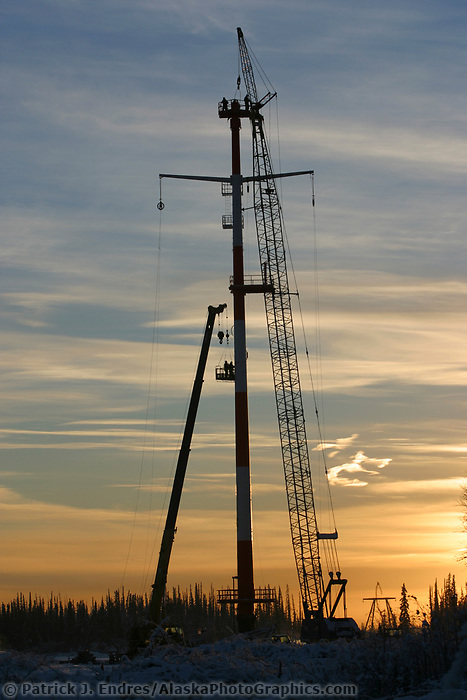 Construction work on the northern intertie power transmission line between Fairbanks and Healy, AK