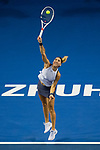 Elena Vesnina of Russia serves during the singles Round Robin match of the WTA Elite Trophy Zhuhai 2017 against Shuai Peng of China at Hengqin Tennis Center on November  03, 2017 in Zhuhai, China.  Photo by Yu Chun Christopher Wong / Power Sport Images