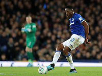 29th October 2019; Goodison Park, Liverpool, Merseyside, England; English Football League Cup, Carabao Cup Football, Everton versus Watford; Yerry Mina of Everton passes the ball across the midfield  - Strictly Editorial Use Only. No use with unauthorized audio, video, data, fixture lists, club/league logos or 'live' services. Online in-match use limited to 120 images, no video emulation. No use in betting, games or single club/league/player publications