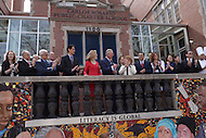 Washington, DC - March 19, 2015: His Royal Highness The Prince of Wales (c) stands with faculty, administrators and students in front of the Carlos Rosario Public Charter School in the District of Columbia, March 19, 2015, during his four-day USA visit.  (Photo by Don Baxter/Media Images International)
