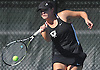 Lauren Cherkin of Half Hollow Hills East returns a shot during the Suffolk County girls tennis Division I doubles final against Smithtown East at Half Hollow Hills West High School on Tuesday, Oct. 11, 2016.