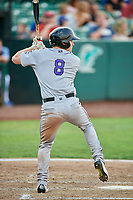 Zach Hall (8) of the Grand Junction Rockies bats against the Ogden Raptors at Lindquist Field on July 25, 2018 in Ogden, Utah. The Rockies defeated the Raptors 4-0. (Stephen Smith/Four Seam Images)