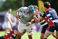 Zach Mercer of Bath Rugby takes on the Bristol Rugby defence. Pre-season friendly match, between Bristol Rugby and Bath Rugby on August 12, 2017 at the Cribbs Causeway Ground in Bristol, England. Photo by: Patrick Khachfe / Onside Images