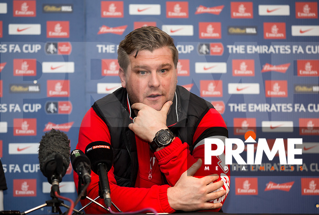 Karl Robinson manager of MK Dons during the MK Dons Press Conference ahead of the FA Cup match against Chelsea at stadium:mk, Milton Keynes, England on 28 January 2016. Photo by Andy Rowland.