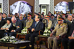 Egyptian President Abdel Fattah al-Sisi attends a presentation at El Alamein War Cemetary, during a ceremony marking 75 years since the pivotal WWII battle in the Egyptian Mediterranean town of the same name, about 100 kilometres (62 miles) west of Alexandria, on October 21, 2017. The World War II Battle of El Alamein -- which began on October 23, 1942 -- pitched the Allied forces of British Field Marshal Bernard Montgomery's against his German counterpart Erwin Rommel's Afrika Korps. Photo by Egyptian President Office