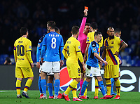 25th February 2020; Stadio San Paolo, Naples, Campania, Italy; UEFA Champions League Football, Napoli versus Barcelona; Arturo Vidal of Barcelona is shown a red card and sent off