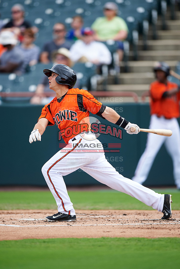 Bowie Baysox shortstop Adrian Marin (1) at bat during the first game of a doubleheader against the Akron RubberDucks on June 5, 2016 at Prince George's Stadium in Bowie, Maryland.  Bowie defeated Akron 6-0.  (Mike Janes/Four Seam Images)