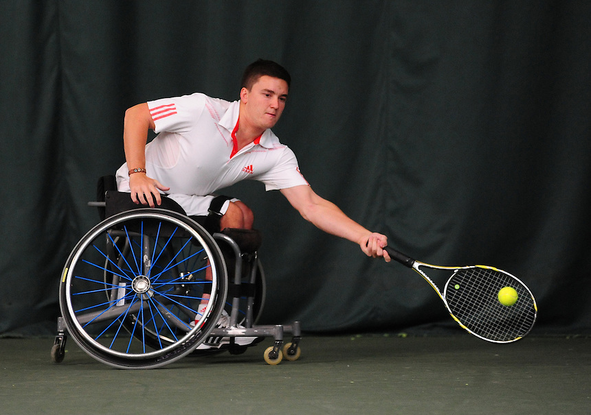 Gordon Reid (GBR) [2] in action during his Men's Main Draw Singles semi final against David Phillipson (GBR) [5]..Tennis - ITF Nottingham Indoor Wheelchair Tennis Tournament - Saturday 27th October 2012 - Nottingham Tennis Centre - Nottingham..©Tennis Foundation/James Jordan..www.tennisfoundation.org.uk.info@tennisfoundation.org.uk