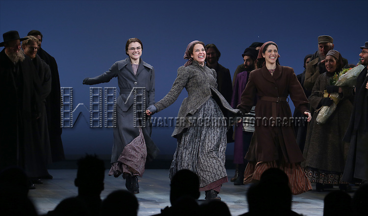 Melanie Moore, Alexandra Silber and Samantha Massell during the Broadway Opening Night Performance Curtain Call bows for 'Fiddler On The Roof'  at the Broadway Theatre on December 20, 2015 in New York City.
