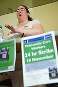 UNISON NEC member Kate Aherns speaks at a rally of care workers in Barnet against proposed 30% wage cuts by their employer, Freemantle.