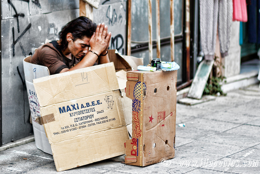 Homeless man in the street of Athens, Greece