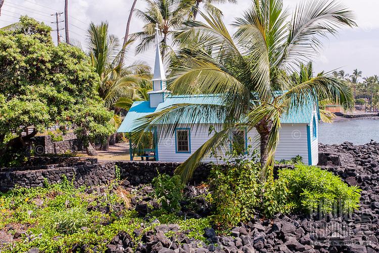 "St. Peter's By The Sea Catholic Church a.k.a. ""Little Blue Church"" in Kailua-Kona, Big Island."
