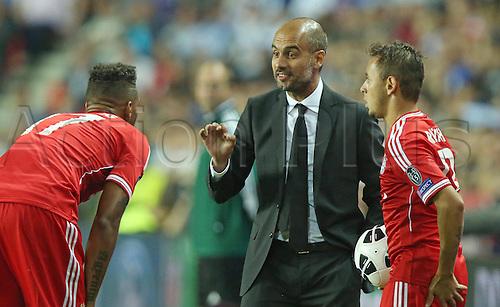 30.08.2013. Prague, Czech Republic.   UEFA Supercup 2013 FC Bayern Munich versus Chelsea. Team  Head coach Pep Guardiola FCB